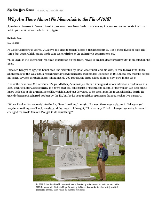 Why Are There Almost No Memorials to the Flu of 1918_ - The New York Times.pdf